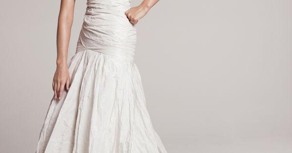 Nicole Miller V-Neck Textured Taffeta Trumpet Gown