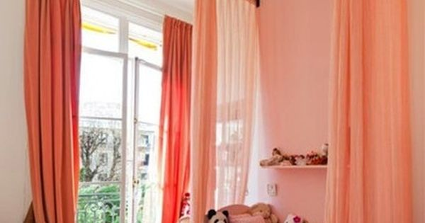 ceiling mounted bed curtains for a canopy, what a great idea for