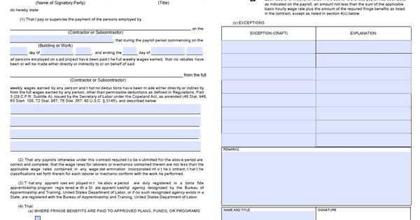Certified Payroll Form - Page 2 (WH347) Prevailing Wage Pinterest - certified payroll form