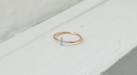 10k Gold Sideways Cross Ring Diamond Sideways Cross Etsy Sideways Cross Ring Tiny Diamond Earrings Diamond Star Earrings