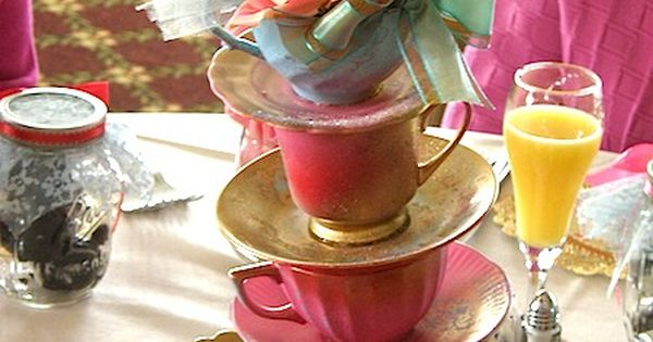 Tea cup centerpiece.