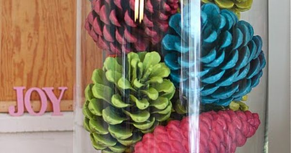 Colorful pine cones- 5 Ideas To Decorate With Spray Painted Pinecones