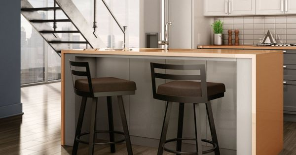 Amisco Derek Swivel Counter Stool 26 In A Clean Kitchen