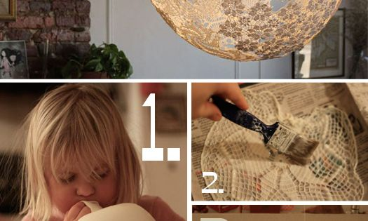 Doily Lamp Tutorial DIY lampshade balloon glue