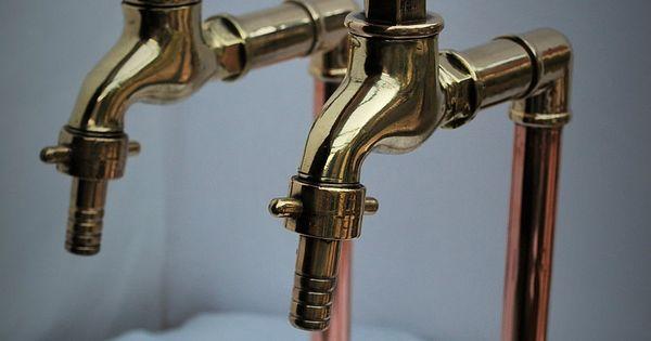 Brass Amp Copper Belfast Kitchen Sink Tall Bib Taps Old