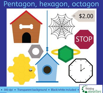 This Is A Collection Of Pentagon Hexagon And Octagon Shaped Objects This Set Has 26 Images 13 Color 13 Black White All Shapes Kindergarten Hexagon Shapes