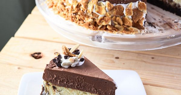 Chocolate Cannoli Cheesecake Mousse Torte | This fantastically decadent cake combines four