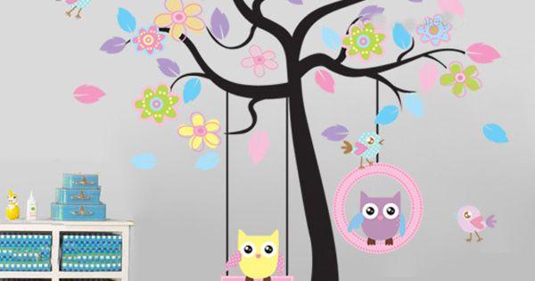 Flor p ssaro coruja rvore balan o adesivos de parede for Decalque mural