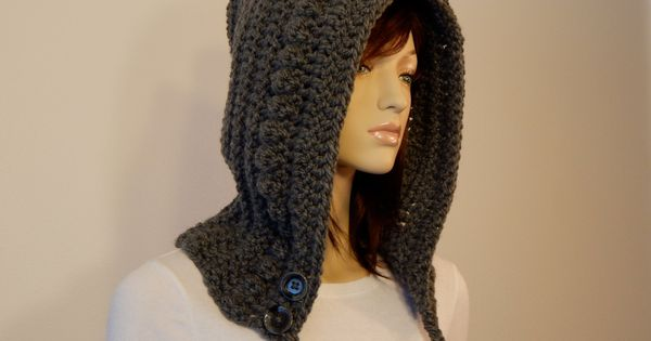 Crochet Hair For Adults : Teen Adult Gray Hoodie, Crochet Hood with Braids and Buttons, Womens ...