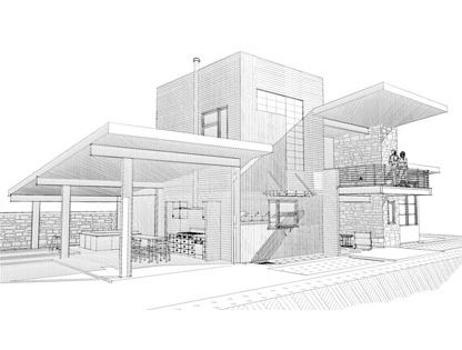 Modern home architecture sketches design decorating 411593 for Modern house design drawing