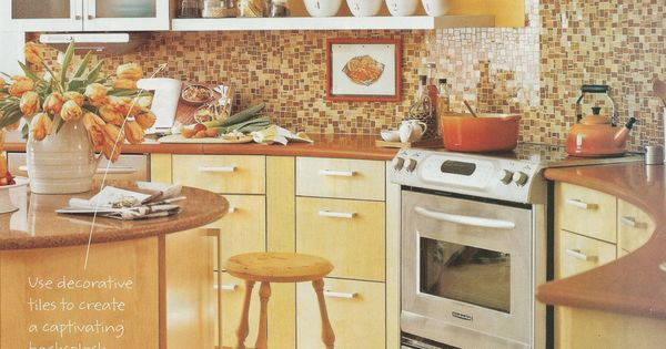 Bright Yellow Kitchen Brown Tile Backsplash Maybe Yellow