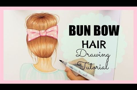 Drawing Tutorial How To Draw And Color Bun Bow Hair YouTube - Hairstyle bun with bow
