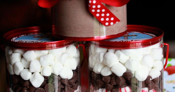 There's nothing better than homemade gifts! Hot cocoa kits.