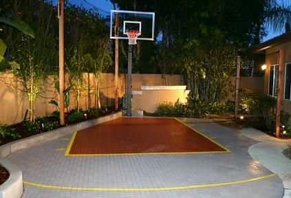 Finished Outdoor Basketball Court What A Nice Job Home Basketball Court Basketball Court Backyard Backyard Basketball