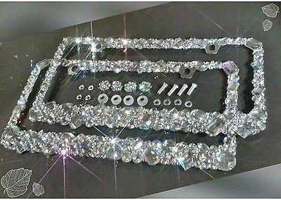 2 Made With SWAROVSKI CRYSTAL Metal License Plate Frame Screw Cap Chrome Diamond