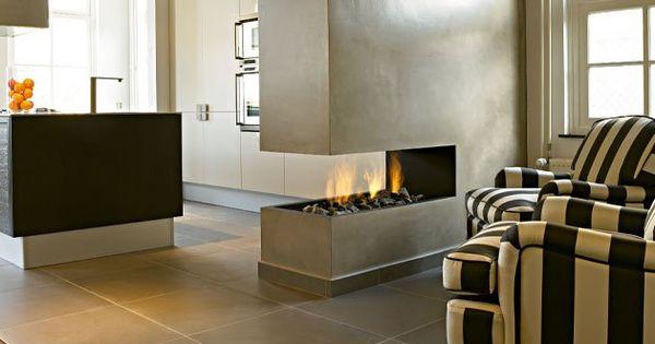 Leuke afscheiding keuken kamer interieurs1 pinterest modern - Afscheiding glas keuken woonkamer ...