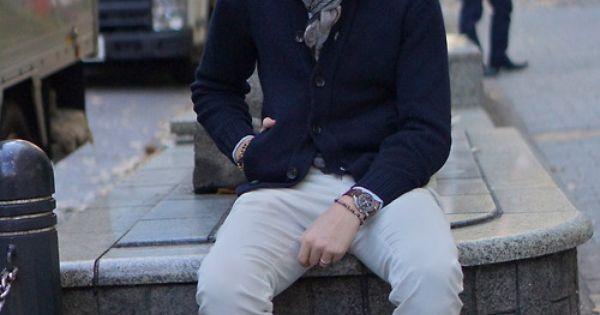 Blue Cardigan Sweater, Light Grey Pants