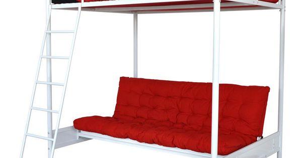 mezzo lit mezzanine 140x190 avec banquette clic clac blanc prix promo. Black Bedroom Furniture Sets. Home Design Ideas