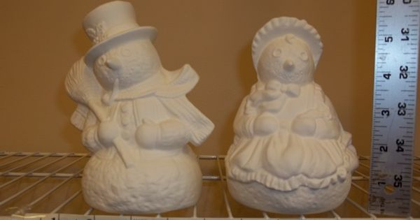 Ready to Paint Coco Snowman with Skates 7 Ceramic Bisque