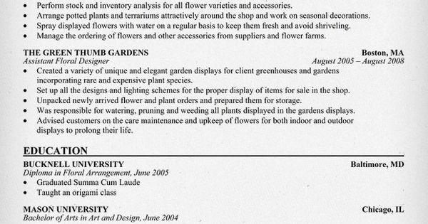 floral designer resume florist resumecompanioncom