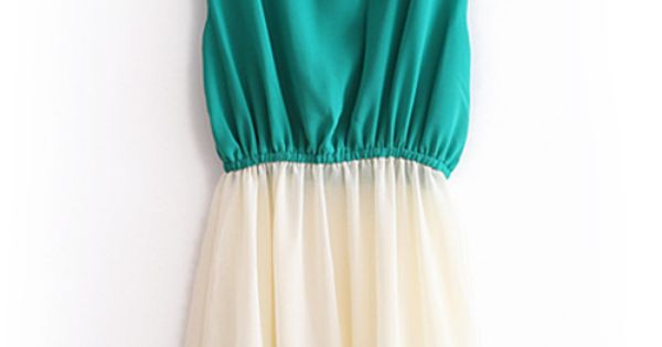color block chiffon dress. Tis is an awesome summer dress for you