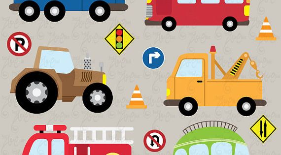 Transportation Clip Art ,Cute Vehicles, Transport Set