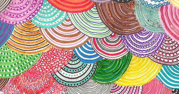 colorful + fun layered circle pattern - GREAT COLLABORATIVE PROJECT-good for Rainbow