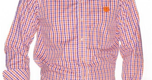 men 39 s clemson purple orange coach 39 s dress shirt by pennington bailes buy it. Black Bedroom Furniture Sets. Home Design Ideas