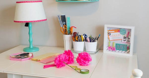 Hometalk :: Pink Green Girly Organized: Ultimate Home Office Craft Room Makeover