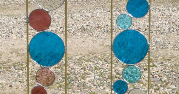 Stained Glass Garden Stake - combination of Christian's fused glass and Axel's
