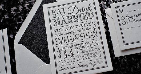 Black And White Glamour Invitations, Glitter Wedding Invitations,  Letterpress, Eat Drink And Be Married | Jupiter And Juno Letterpress |  Pinterest ...
