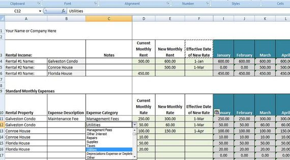 Rental Property Management Template, Rental Income and Expense
