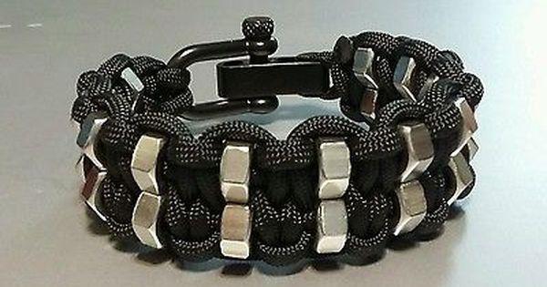 Double Hex Nut Paracord Bracelet With Black Adjustable Shackle