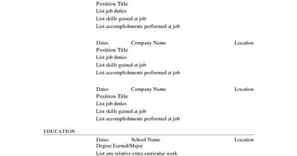 Free Printable Resume Template