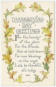 Beautiful Thanksgiving Greeting Vintage Thanksgiving Thanksgiving Poems Thanksgiving Blessings