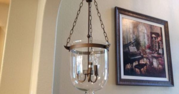 Antique Brass Bell Shaped Clear Glass Jar Shade Chandelier Pendant