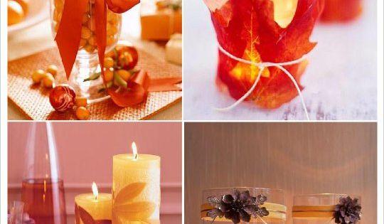 mariage automne decoration table pomme de pin bougie feuille ...