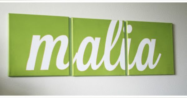 DIY Canvas Art - Three different colors of child's name on a