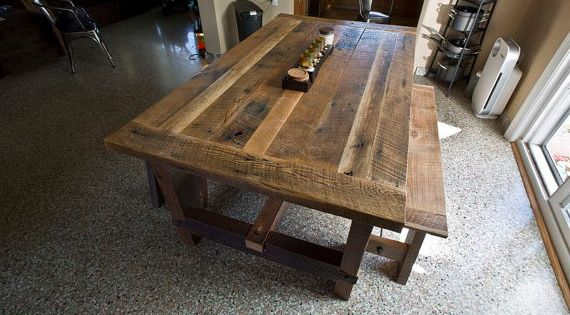Solid oak reclaimed barn wood dining room table on etsy for Dining room tables etsy