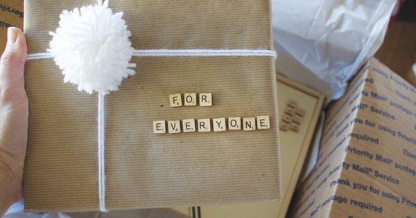 Scrabble letter stickers as gift tags!