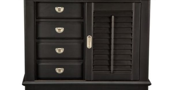 Plantation Cove Black Sliding Door Chest