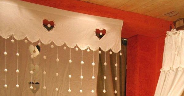 Rideau brise bise pompons coton blanc pm rideaux brise bise coton blanc et les sculpteurs - Rideau campagnard ...