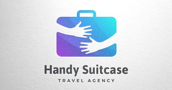 Handy Suitcase Travel Logo Template, Premium quality cute suitcase logo for travel agency