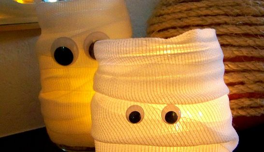 Mummy lights. Jars, gauze and googly eyes. you could just wrap a