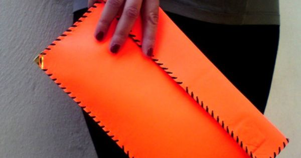 Orange Stitch Leather Clutch