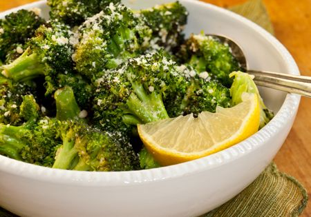 Garlicky Roasted Broccoli with Parmigiano-Reggiano Recipe Side Dishes with broccoli, extra-virgin olive