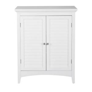 Elegant Home Fashions Simon 26 In W X 13 In D X 32 In H Bathroom Linen Storage Floor Cabinet With 2 Shutter Doors In White Hdt585 The Home Depot Elegant Home