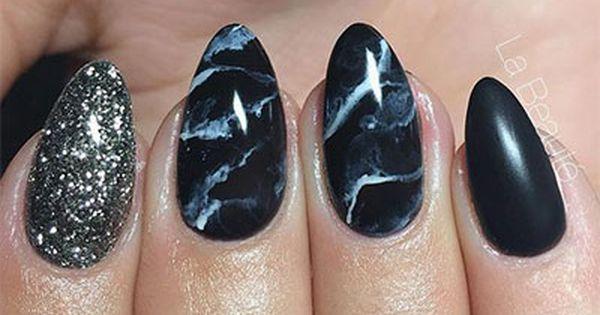 Black Marble Nails Art Black Marble Nails Manicure Manicures Designs