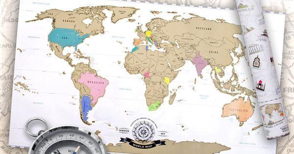 Scratch off world map weltkarte zum rubbeln rubbel - Wanderlust geschenke ...