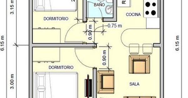 Plano de casa con medidas 36m2 2 dormitorios planos de for Planos de viviendas de 2 dormitorios